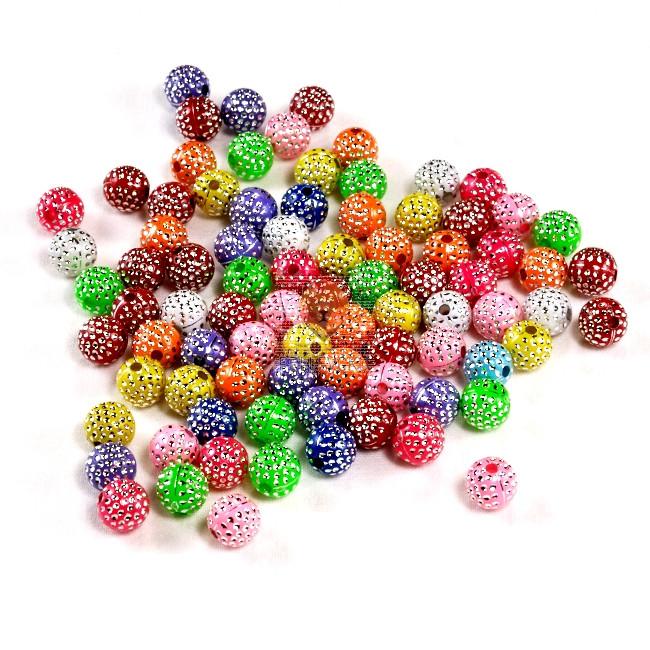 Perle barvni mix z bleščicami 8mm 20g