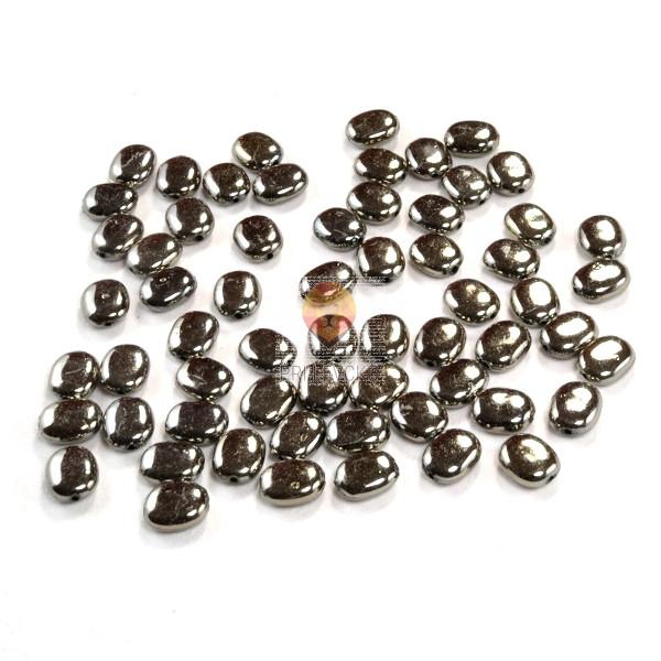 Perle plastične kovinski izgled ovalne črne barve 10x13mm 30g