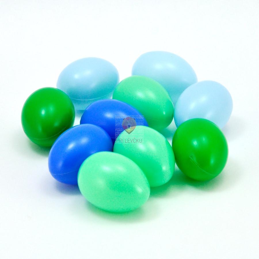 Barvna plastična jajca - zeleno modri miks