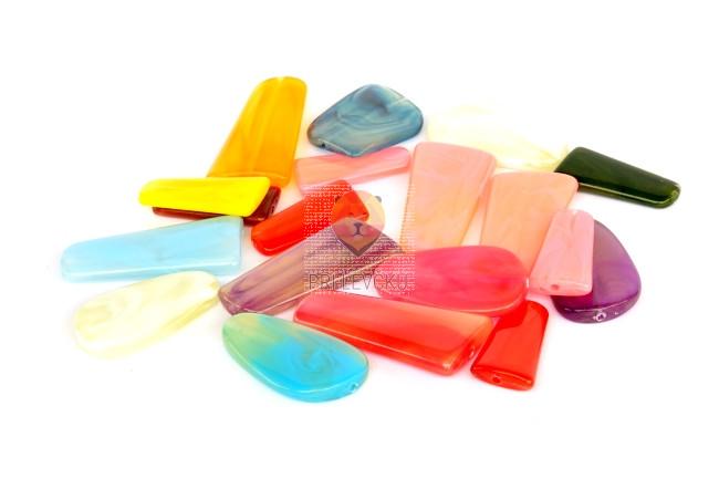 Perle akrilne mix 43, ploščice različne oblike in barve, 50g
