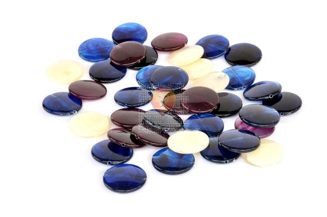 Perle akrilne mix 50, ploščate, okrogle oblike, različnih barv 50g