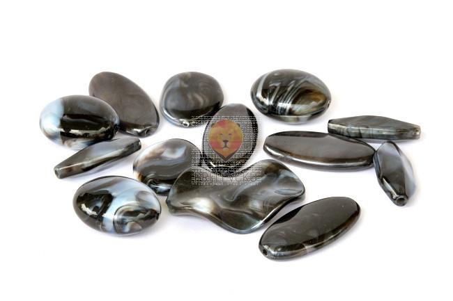 Perle akrilne mix 34, različne oblike in velikosti, črni mix, 50g