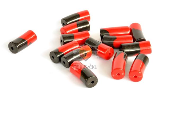 Perle akrilne zaviti valjčki, črno-rdeče barve, 50g