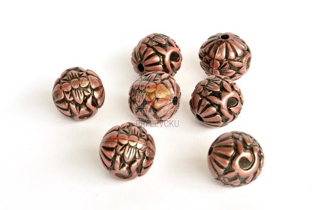 Perle akrilne mix 55, okrogle oblike, z rožastim vzorcem, 7 kosov