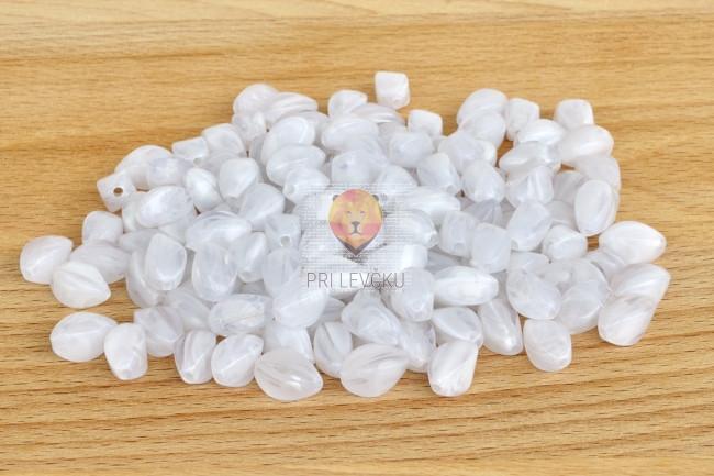 Perle akrilne mix 27 ovalne bele barve 50g