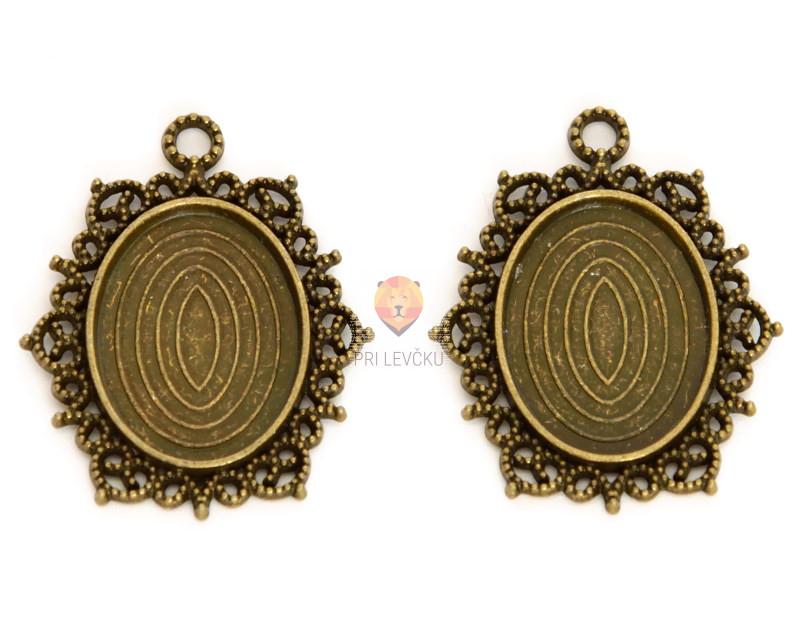 Medaljon barva starega zlata 29x39mm 1 kos