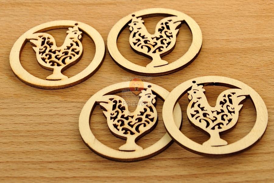 Leseni okraski - petelin v krogu 4 kosi