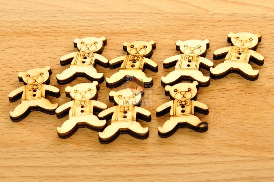 Leseni okraski - medvedki 8 kosov