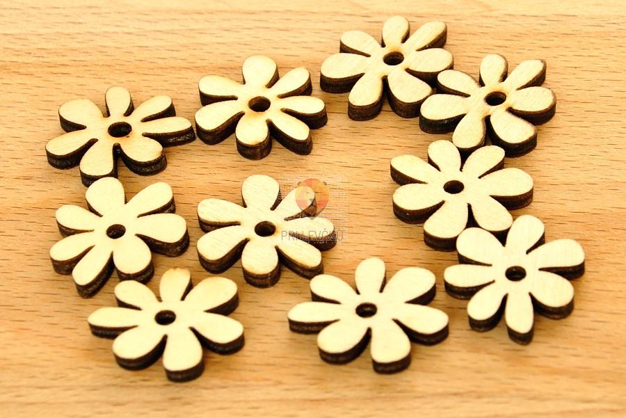 Leseni okraski - rožice 10 kosov