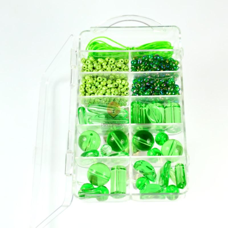 Set za izdelavo ogrlice - zeleni miks