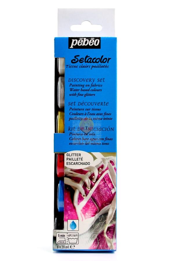 Set SETACOLOR GLITTER barv za tkanine z bleščicami, 6 x 20 ml