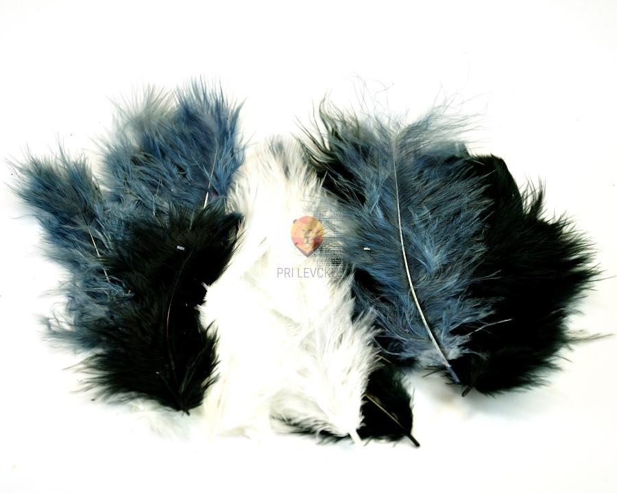 Barvno perje 20 kosov Črno beli miks
