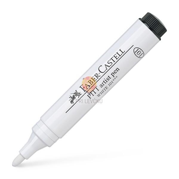 Pigmentiran tuš v flomastru 2,5mm bel Faber-Castell Pitt Artist Pen