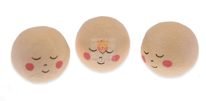 Vatne kroglice s spečim obrazom kožne barve 3cm 3 kosi