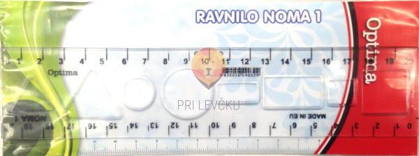 Ravnilo Noma 20 cm z geometrijskimi liki transparent 1 kos