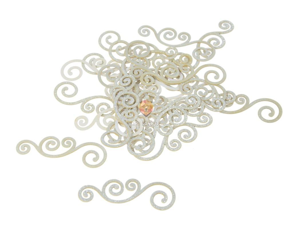 Izrezane nalepke Ornamenti bleščeče bele barve 25 kosov