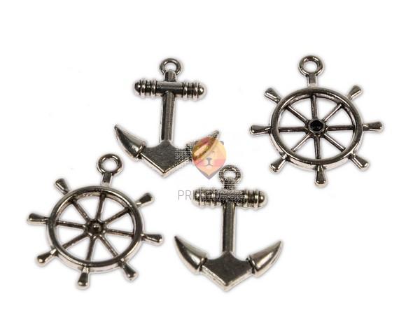Kovinski dodatki za nakit - sidro in krmilo, 4 kos