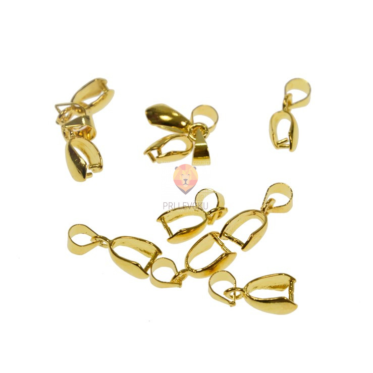 Kovinski obesek 8 mm, zlate barve, 10 kos