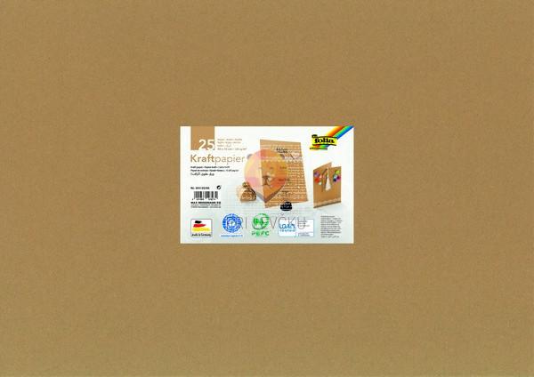 Kraft papir, naravne barve, 50 x 70 cm, 120 g/m2, 25 listov