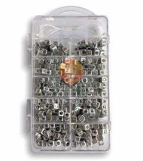 Perle črke kocke kovinski izgled
