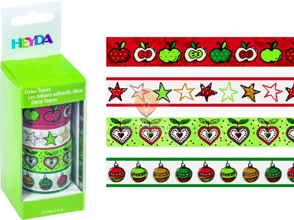 """Set novoletnih dekorativnih lepilnih trakov """"Jabolka,"""" 15 mm x 5 m, 4 kos"""