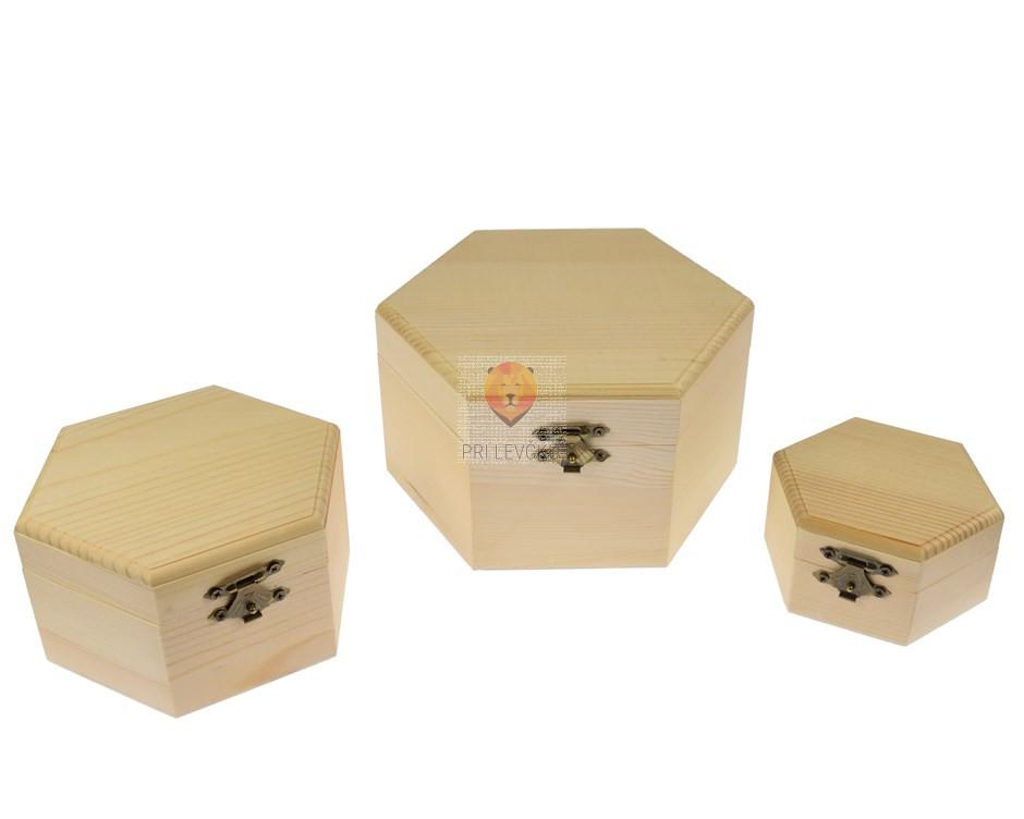 Šestkotna lesena škatlica masivna, 3 kos