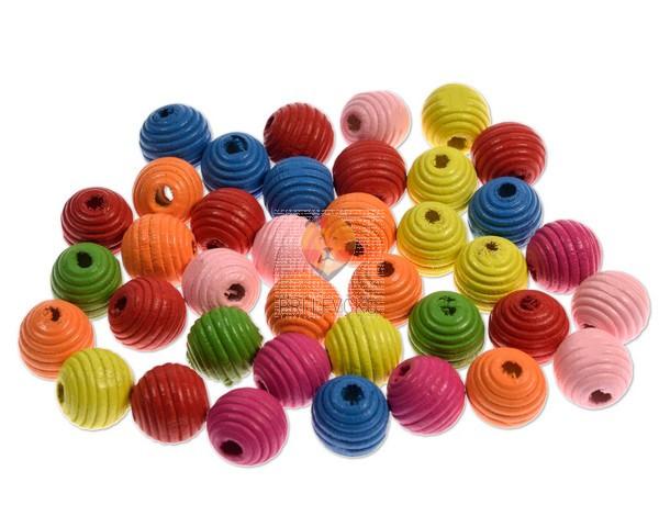Perle lesene okrogle z zarezami 14 mm, 30 g