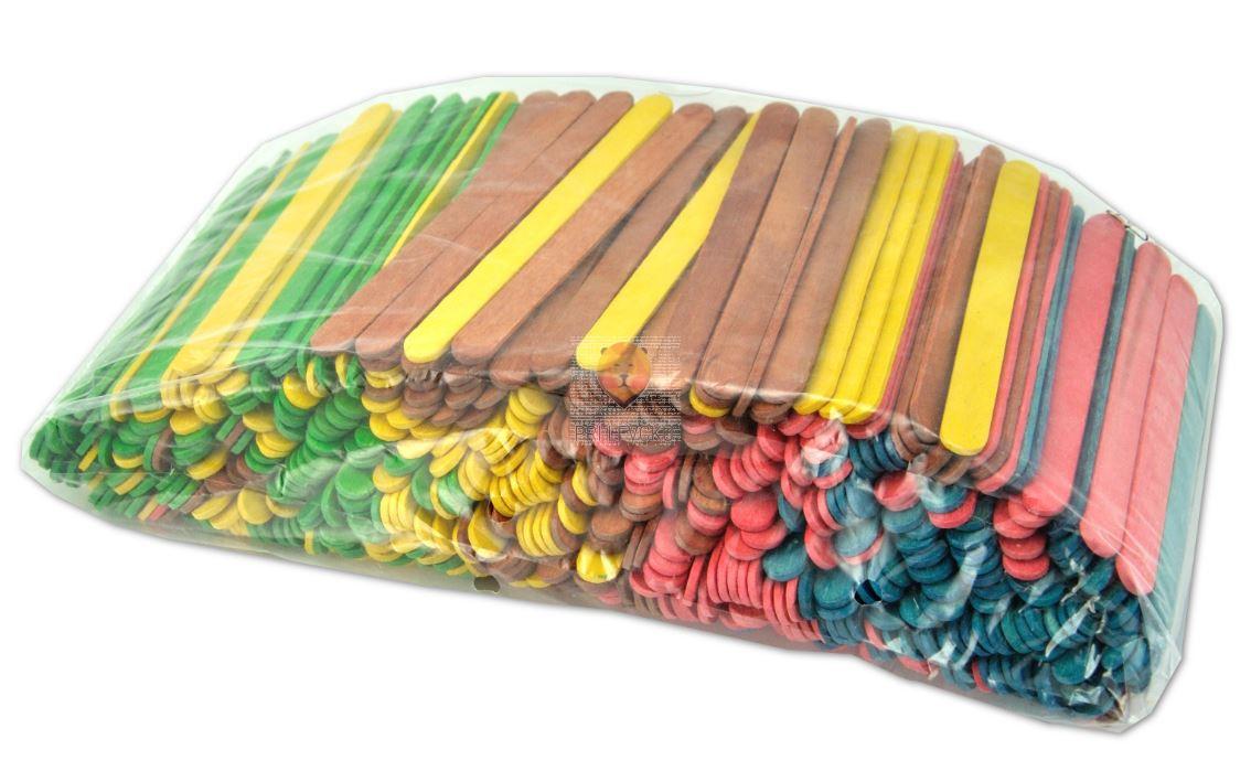 Lesene palčke barvne, 500 kos