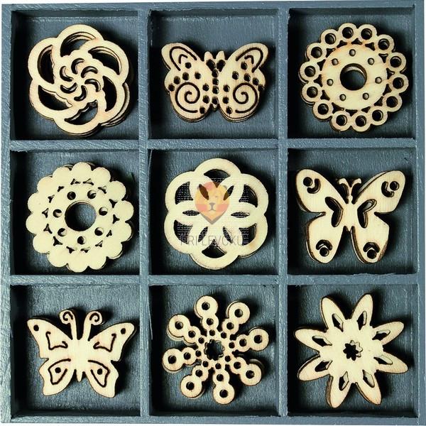 Leseni okraski v škatlici Metulji in rože 45 kosov
