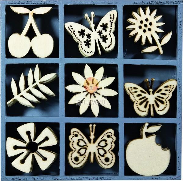 Leseni okraski v škatlici - Sadje, metuljčki in rožice, 45 kos