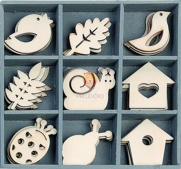 Leseni okraski v škatlici - Polžki in ptičje hišice, 45 kos