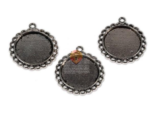 Okrogel medaljon 20 mm, 3 kos