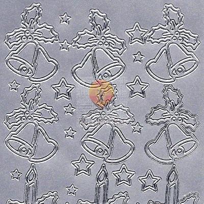 Nalepke NOVOLETNI MOTIVI srebrne barve