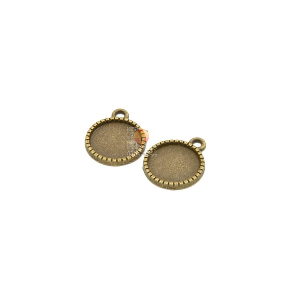 Medaljon okrogel 12 mm, barva starega zlata, 2 kos