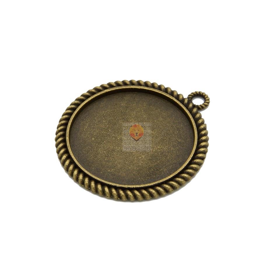 Okrogel medaljon 30 mm, barva starega zlata, 1 kos