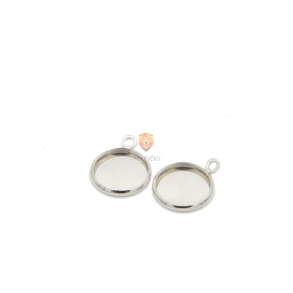 Okrogel medaljon 12 mm, platinaste barve, 2 kos