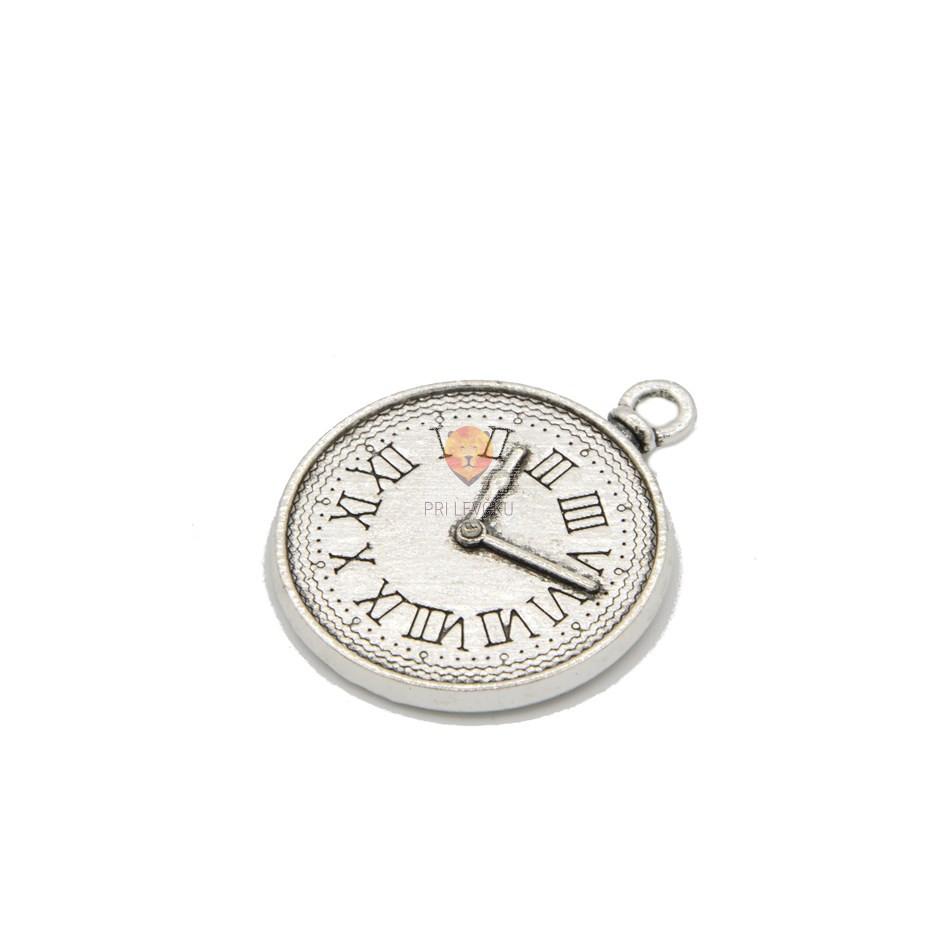 Okrogel medaljon 25 mm z motivom ure, platinaste barve, 1 kos