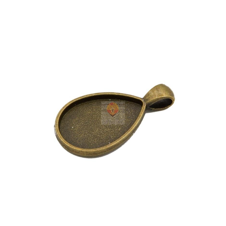 Medaljon solza 25 x 18 mm, barva starega zlata, 1 kos