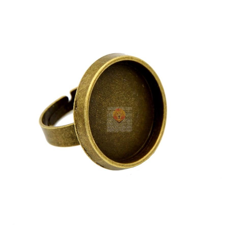 Okrogla osnova za prstan, barva starega zlata, 1 kos