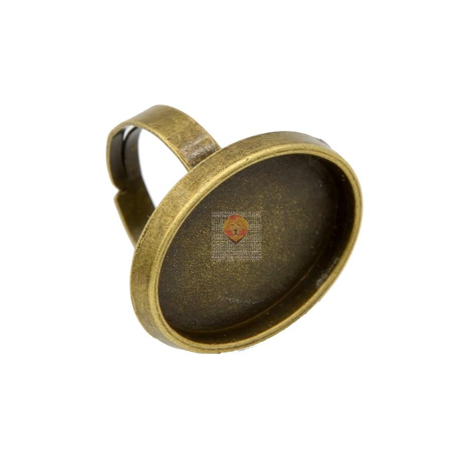 Ovalna osnova za prstan, barva starega zlata, 1 kos