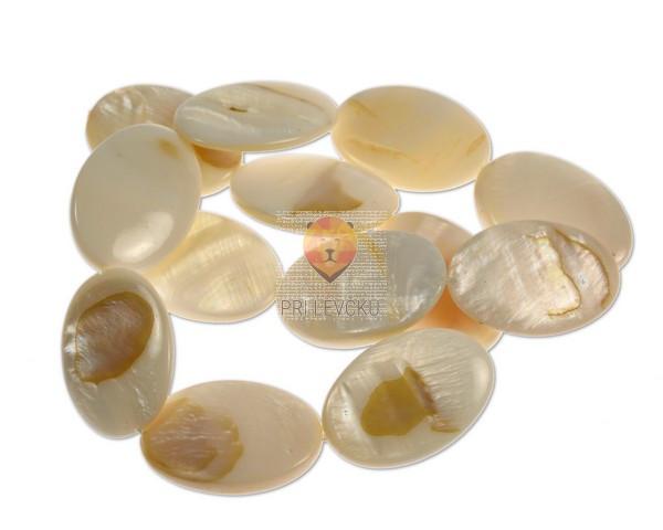 Perle iz školjk - ovalne 20 x 30 mm 1 niz cca 12 kosov