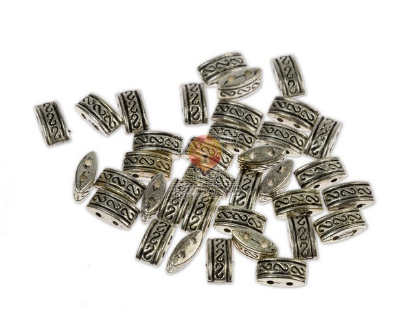 Perle kovinske z dvema luknjama, 36 kos