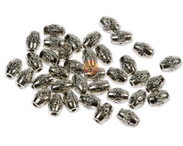 Perle kovinske - ovalne z vzorčkom, 36 kos