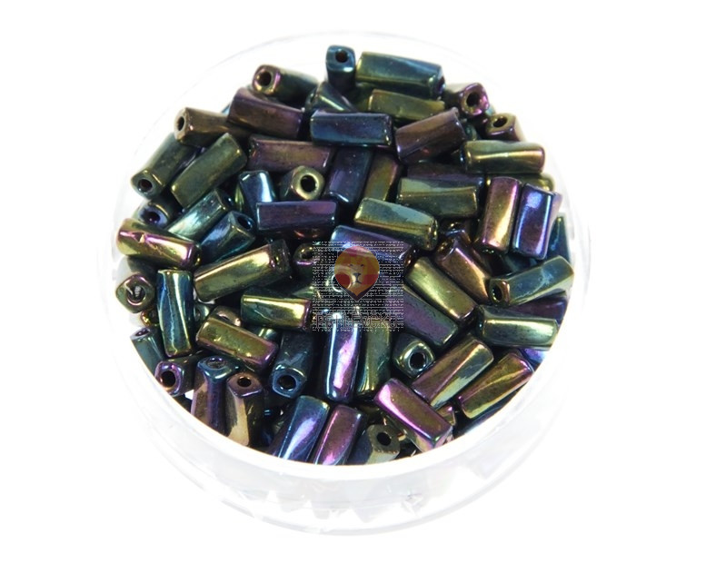Perle kovinske palčke zavite široke modra AB 6mm 15g