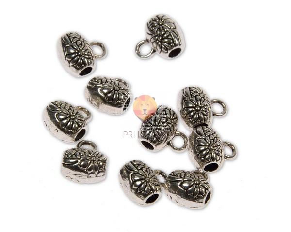 Perle kovinske obešanke 7x9 mm, 10 kos