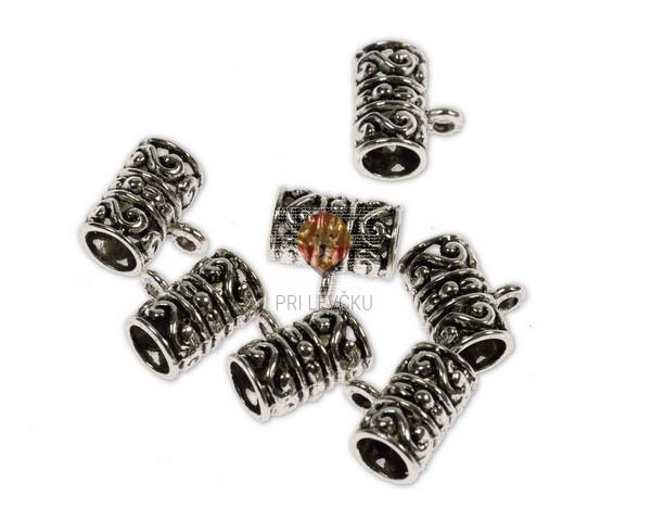 Perle kovinske obešanke 8x13 mm, 7 kos