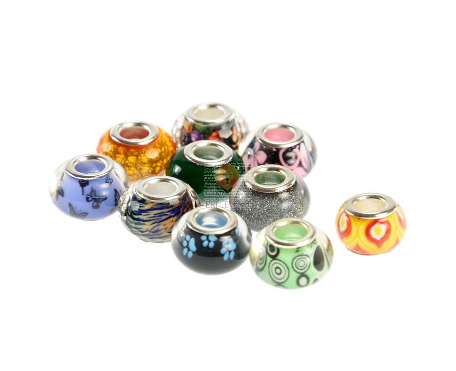 Perle z veliko luknjo, barvni miks, 10 kos