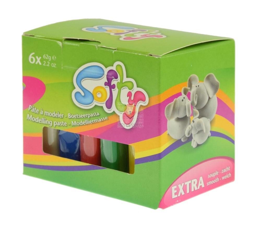 Plastelin Softy komplet različnih barv 6x62g