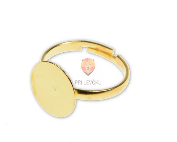 Prstan zlate barve s ploščico 12 mm, 1 kos