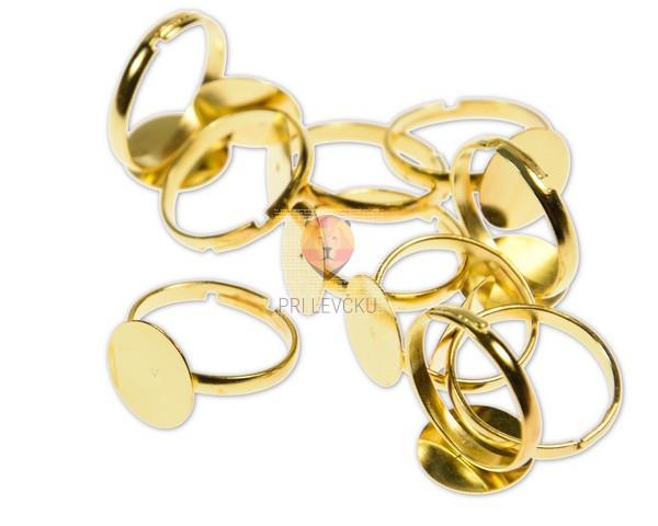 Prstan zlate barve s ploščico 12 mm, 10 kos